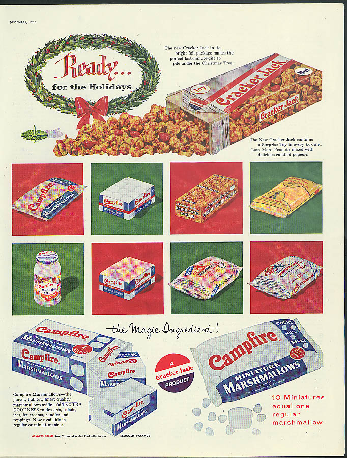 Image for Ready for the Holidays Cracker Jack & Campfire Marshmallows ad 1956