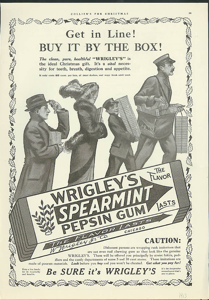 Get in line! Buy it by the Box! Wrigley's Spearmint Chewing Gum ad 1913