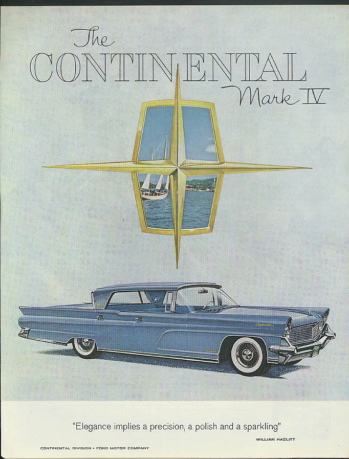 Elegance implies precision & polish Lincoln Continental Mark IV ad 1959