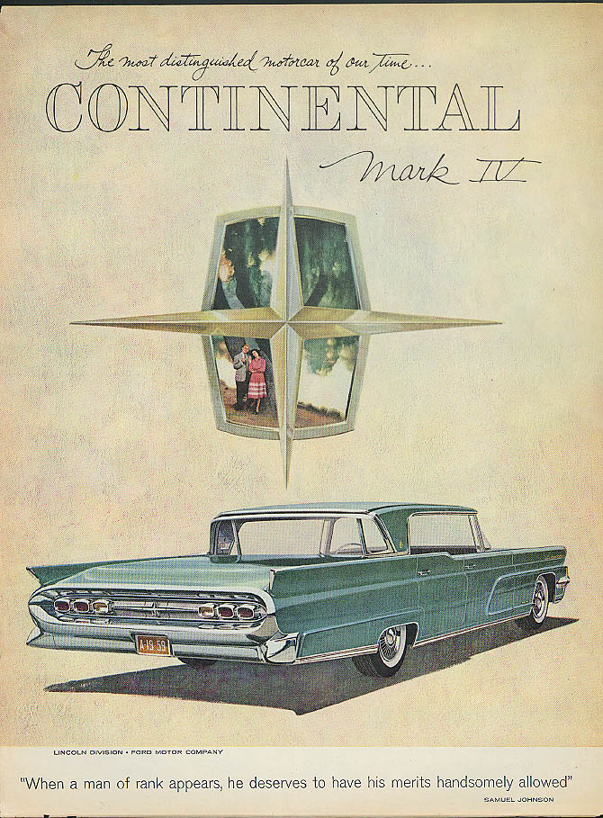 A man of rank deserves his merits Lincoln Continental Mark IV ad 1959