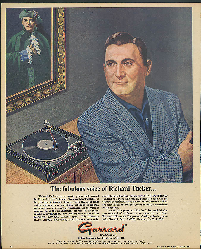 The fabulous voice of Richard Tucker for Garrard Stereo Music System ad 1968