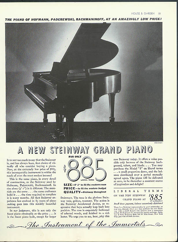 The New Steinway Grand Piano $885 ad 1936 Edward Steichen photo