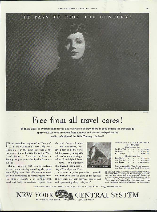Image for Free from all travel cares! New York Central 20th C Limited ad 1935 Steichen