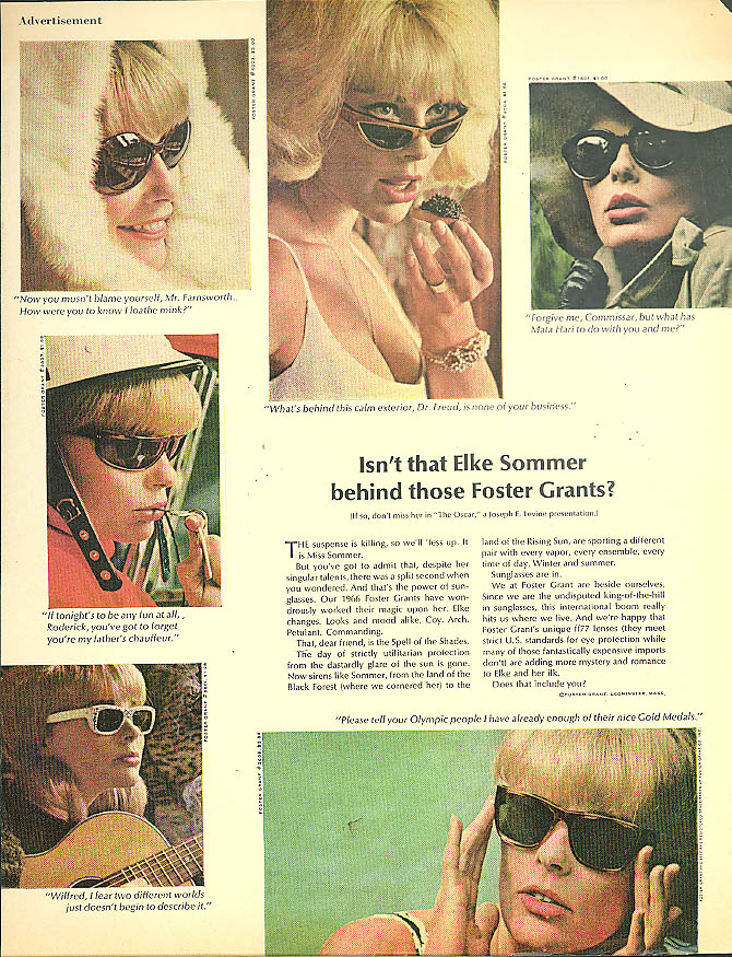 Isn't that Elke Sommer behind those Foster Grants? Ad 1966 sunglasses