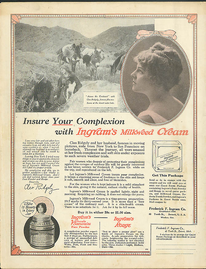 Actress Cleo Ridgely in Across the Continent Ingram's Milkweed Cream ad 1917