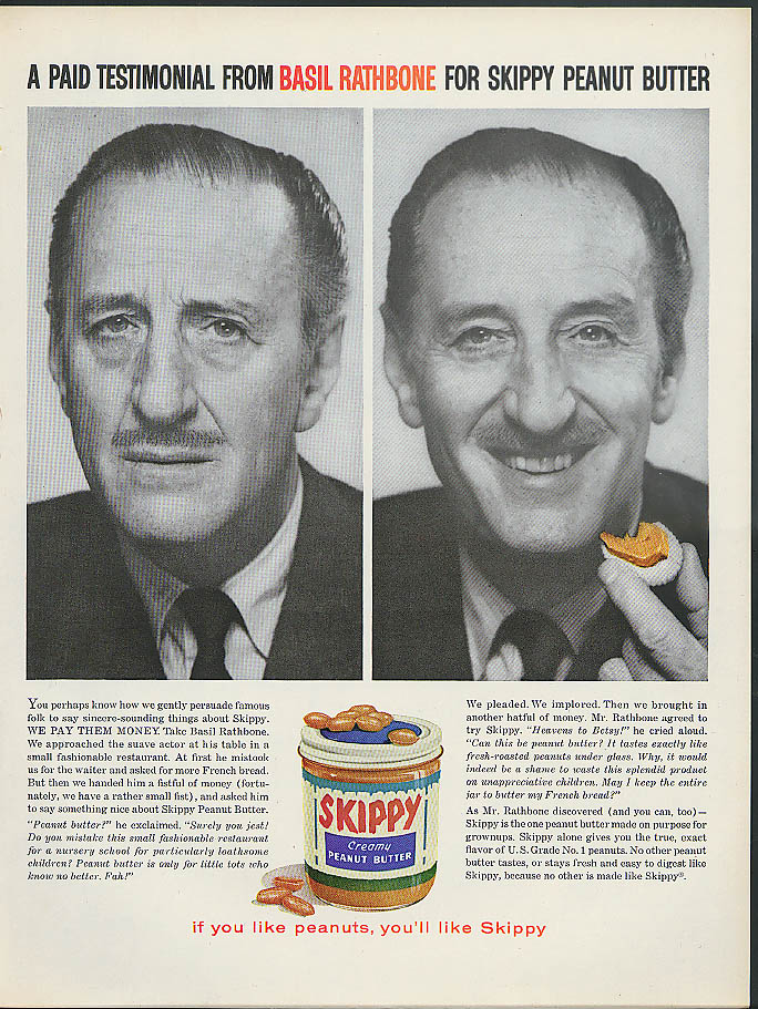 A Paid Testimonial from Basil Rathbone for Skippy Peanut Butter ad 1960
