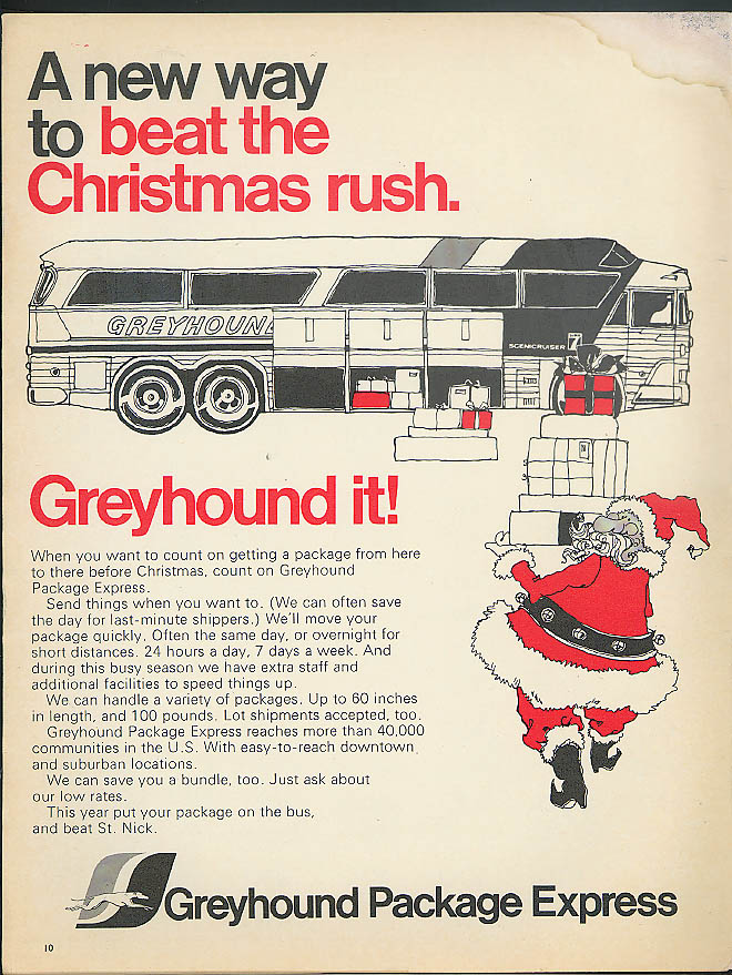 A new way to beat the Christmas rush Greyhound Bus ad 1973 Negro Santa