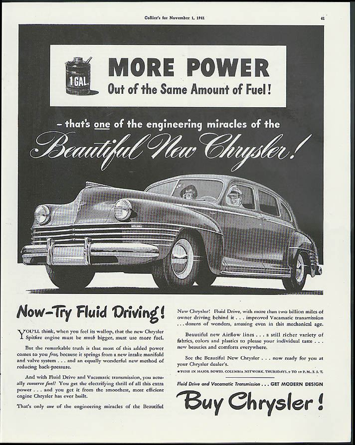Image for More power out of the same amount of fuel Chrysler New Yorker ad 1942