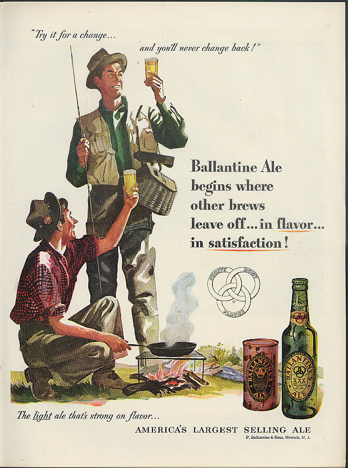 Begins where other brews leave off Ballantine Ale ad 1951 fly fishermen