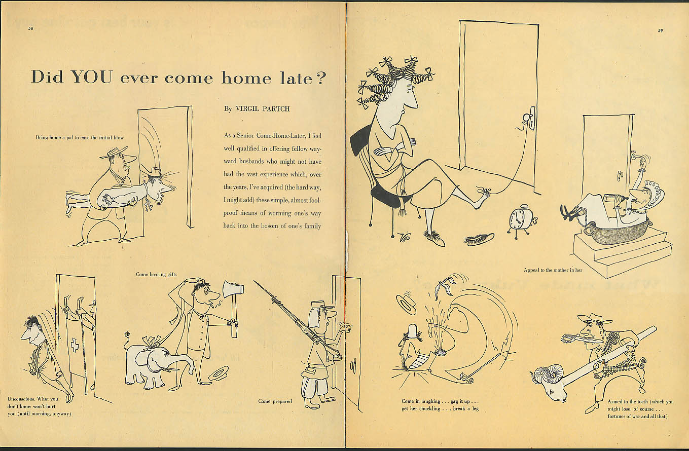 Did you ever come home late? VIP Virgil Partch Collier's spread 1956