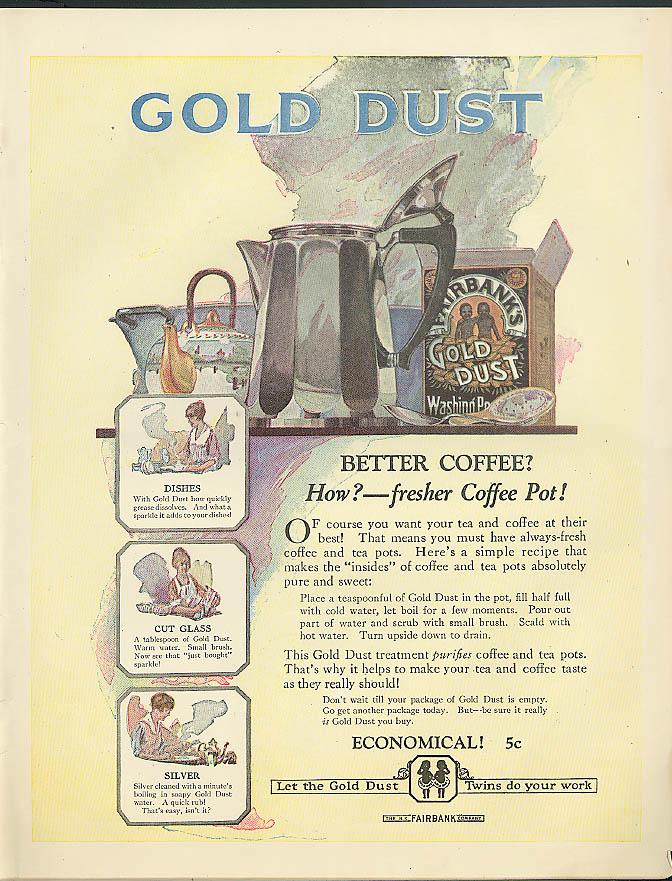 Image for Better Coffee? Fresher Pot Fairbanks Gold Dust Washing Powder ad 1920 black boys