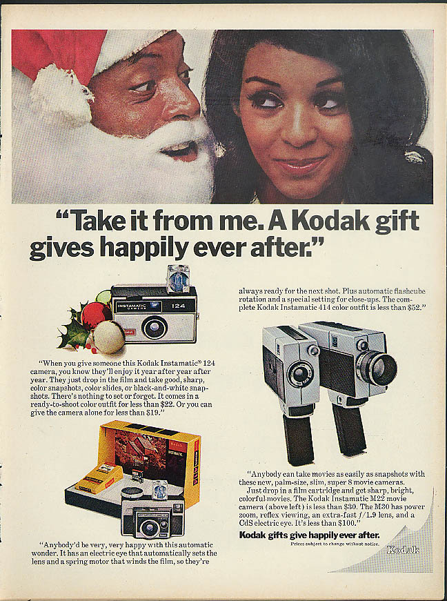 Take It From Me A Kodak gift gives happily ever after ad 1969 Negro Santa & girl