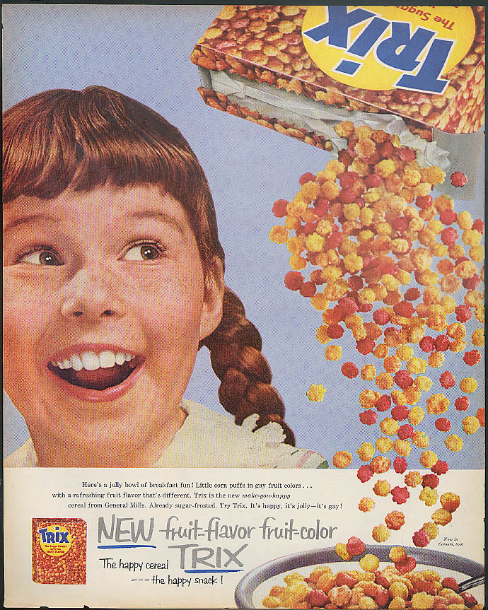 A jolly bowl of breakfast fun! Trix Fruit Flavor Cereal ad 1956