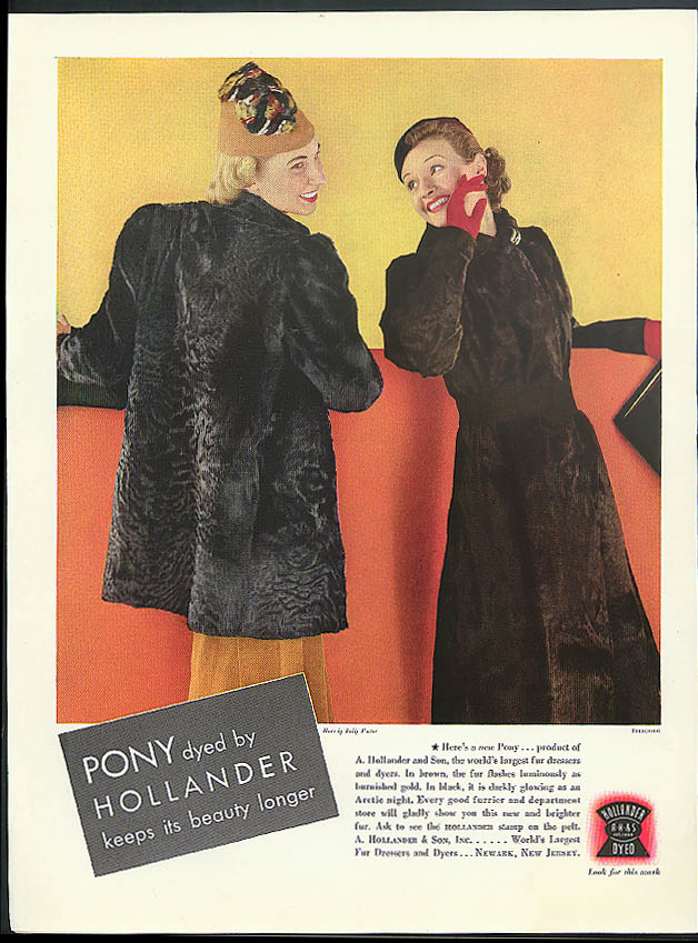 Pony dyed by Hollander keeps its beauty longer fur coat ad 1936 Steichen photo