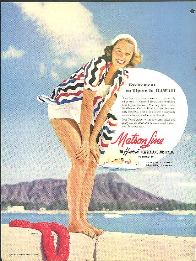 Excitement on Tiptoe in Hawaii Matson Line ad 1941 Steichen photo