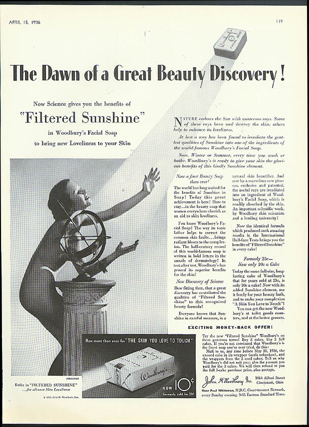 Dawn of a Great Beauty Discovery! Woodbury Soap ad 1936 Steichen nude photo