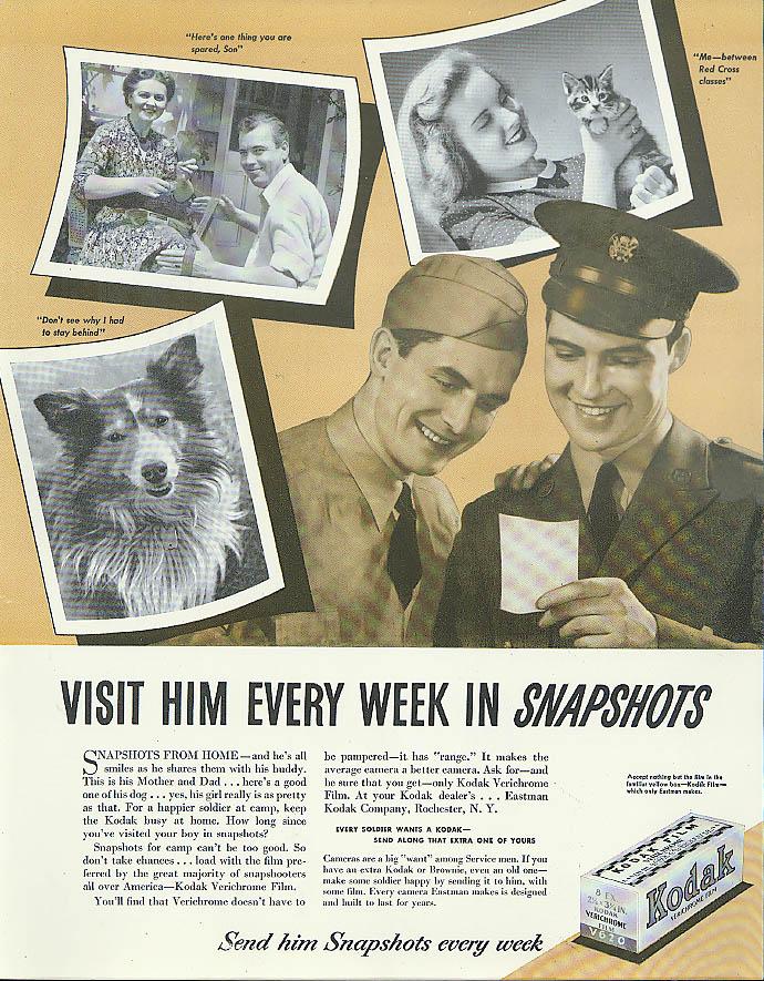Visit him every week in snapshots Kodak ad 1942 servicemen overseas