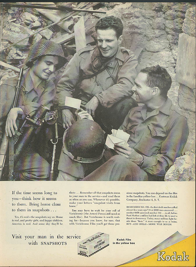 Bring home close to them in Kodak Snapshots ad 1945 trench mortar