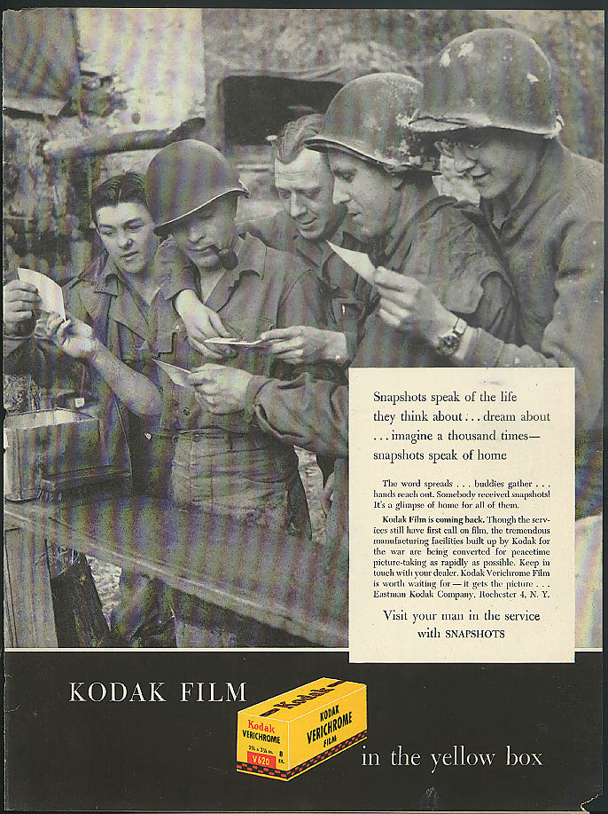 The life they think about Kodak Snapshots ad 1945 GIs at mail call