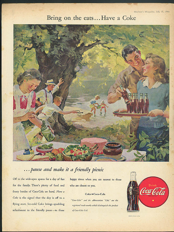 Bring on the eats Have a Coca-Cola ad 1946 streamside picnic Canada