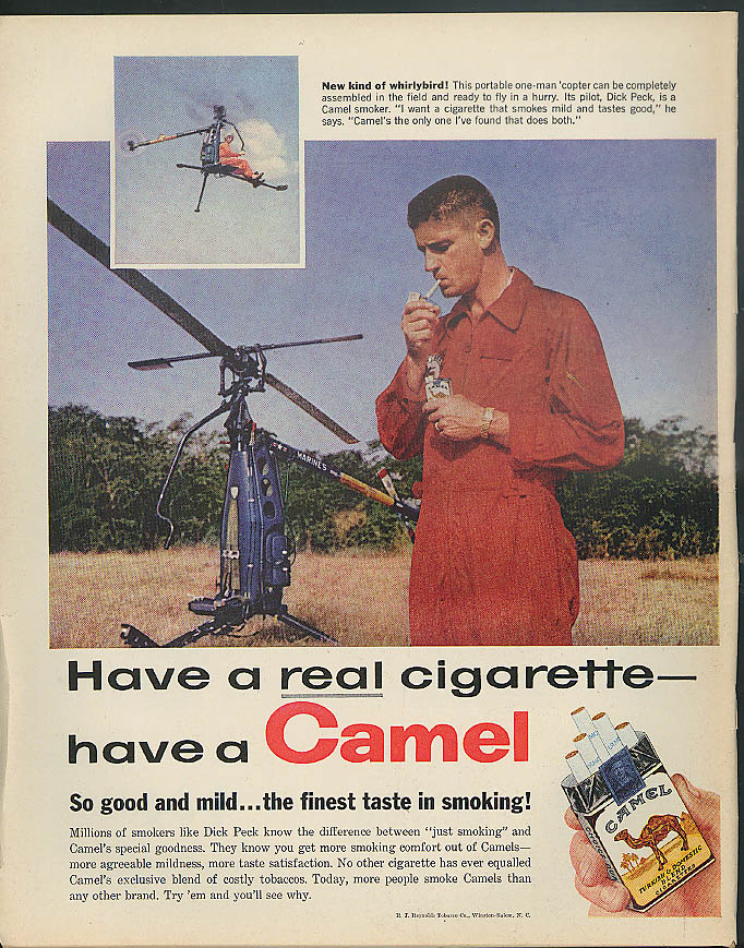 Dick Peck one-man portable US Marines helicopter for Camel Cigarettes ad 1958