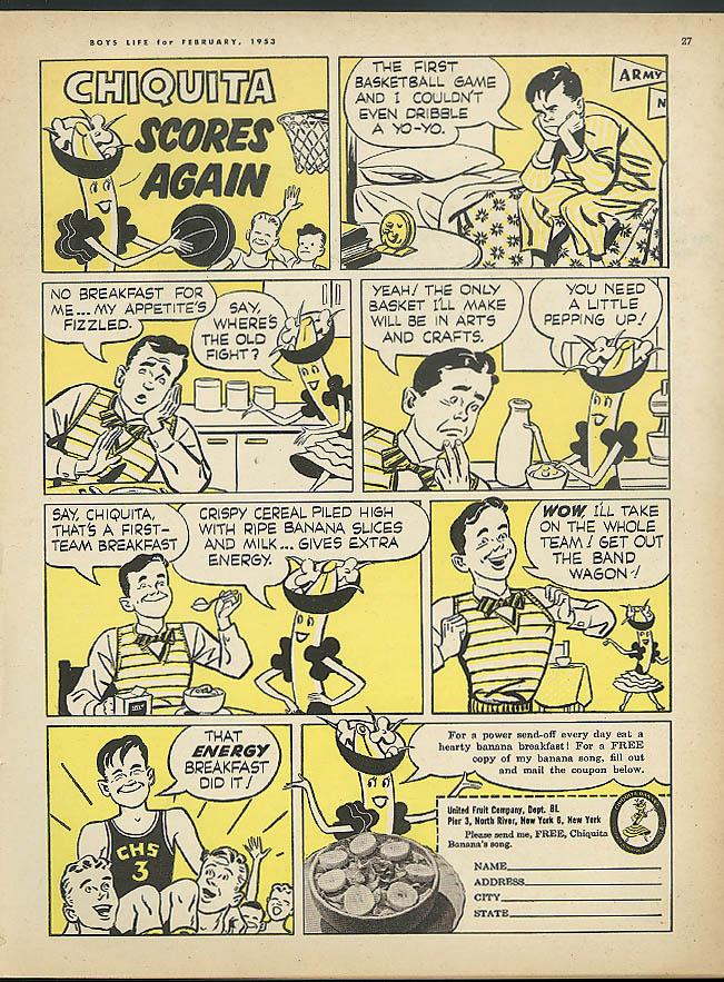 Image for Chiquita Banana scores again cereal & bananas ad 1953 basketball