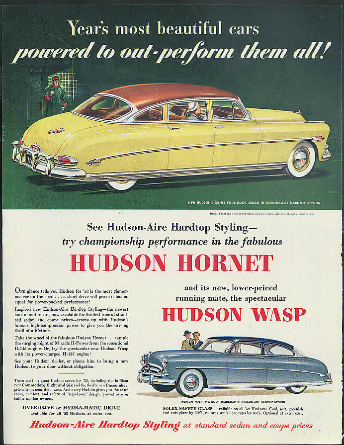Image for Year's most beautiful cars powered to outperform Hudson Hornet & Wasp ad 1952