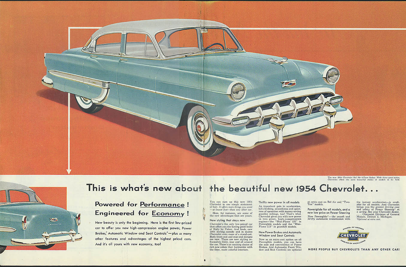 This Is Whats New About The Beautiful 1954 Chevrolet Bel Air 4 Door Chevy Sedan Ad