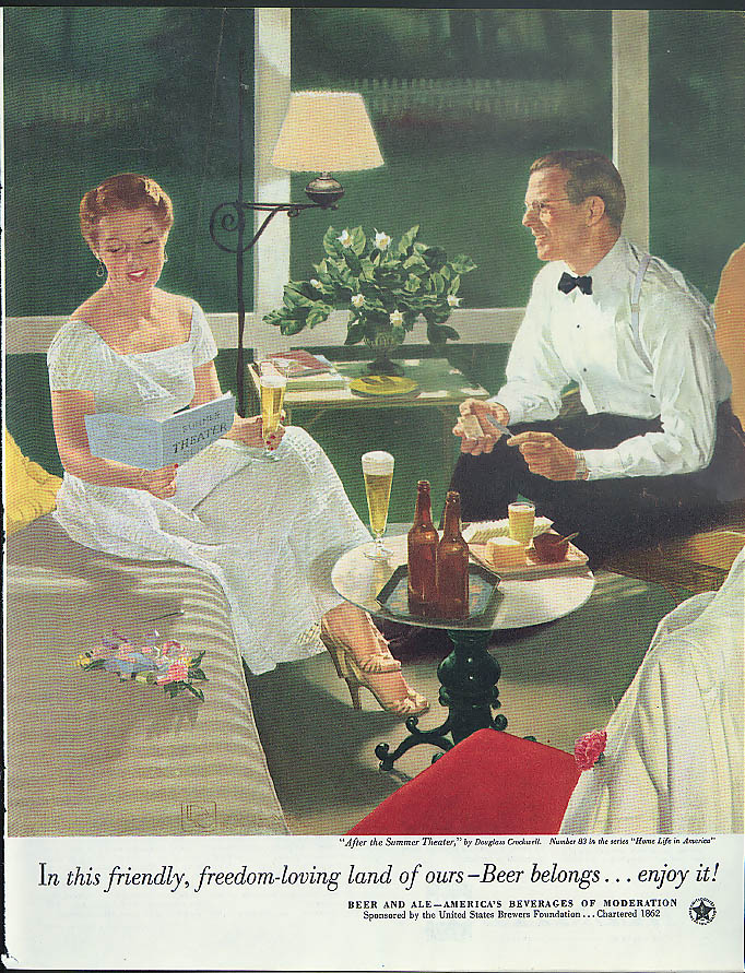 After the Summer Theatre by Douglass Crockwell - Beer Belongs ad 1953