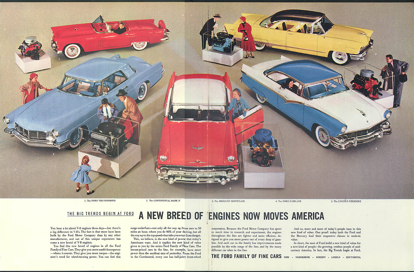 A new breed of engines Ford Motor Co ad Thunderbird Lincoln Mercury Continental
