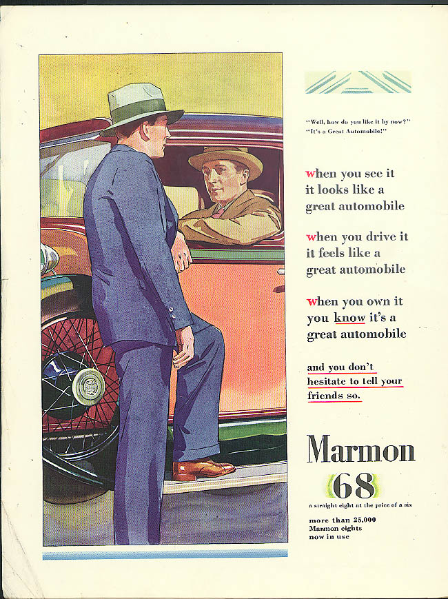 You know it's a great automobile Marmon 68 ad 1928