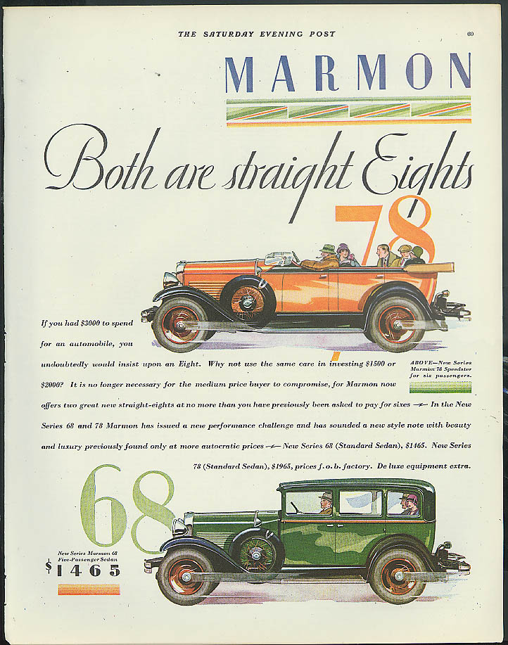 Both are Straight Eights Marmon 78 Speedster for 6 & 68 Sedan ad 1928