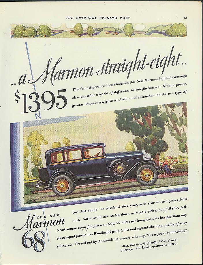 A Marmon Straight Eight Sedan for $1395 ad 1928