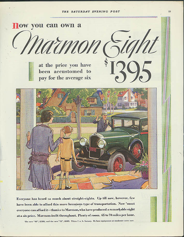 You can own a Marmon Eight for $1395 ad 1928