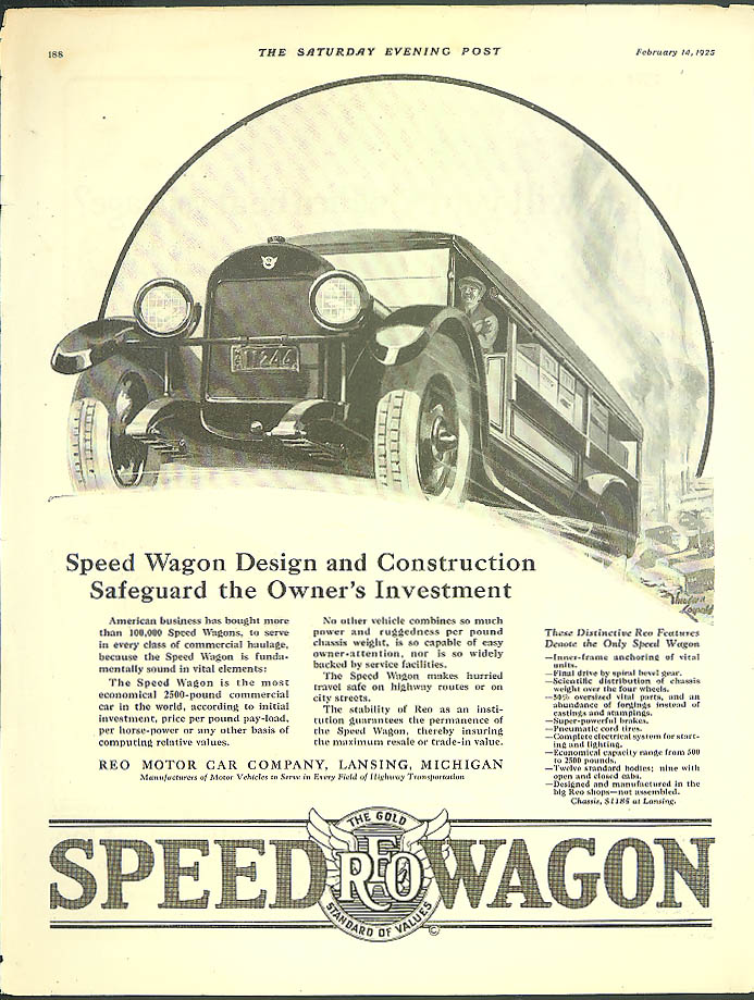 Safeguard the Owner's Investment Reo Speed Wagon ad 1925