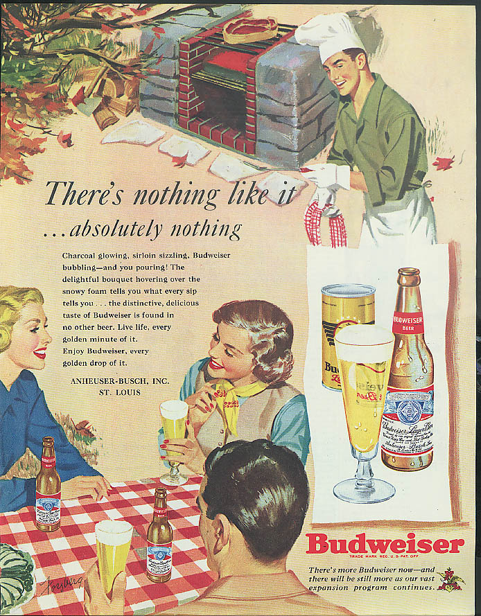 Absolutely nothing like it Budweiser Beer ad 1949 backyard barbecue