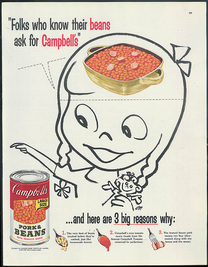 Folks who know their beans Campbell's Pork & Beans ad 1955 girl bean brain