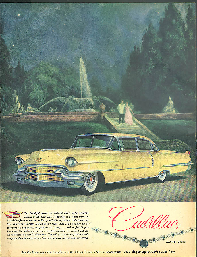 The brilliant climax of 54 years of devotion Cadillac Sedan ad 1956