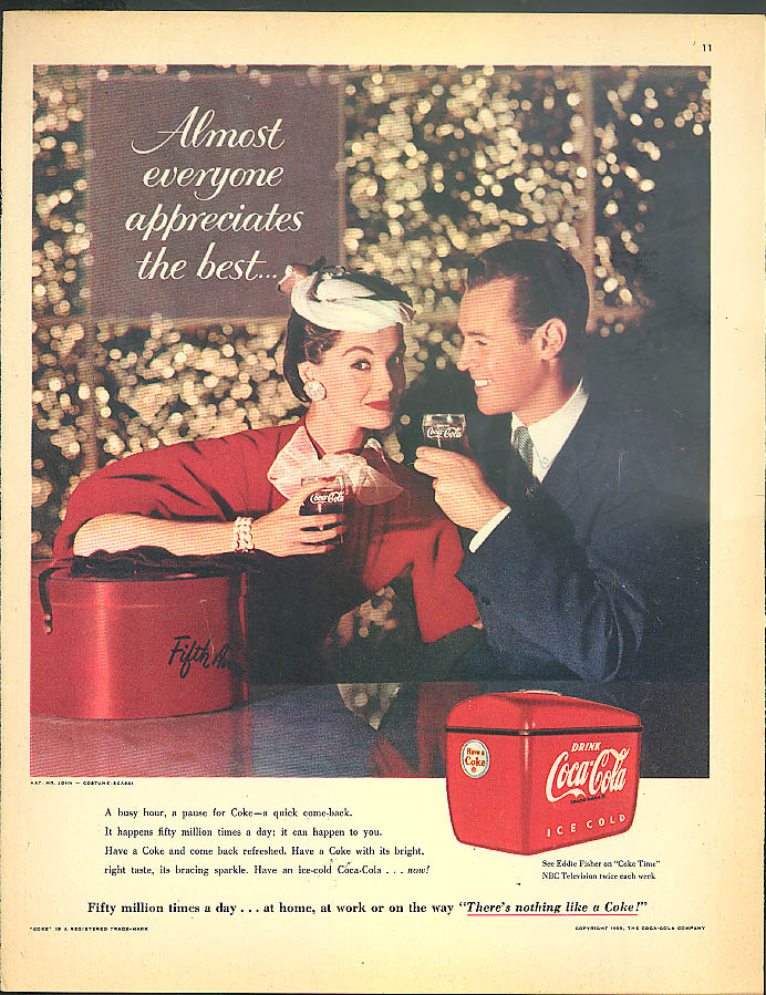 Almost everyone appreciates the best Coca-Cola ad 1955 Mr John hat
