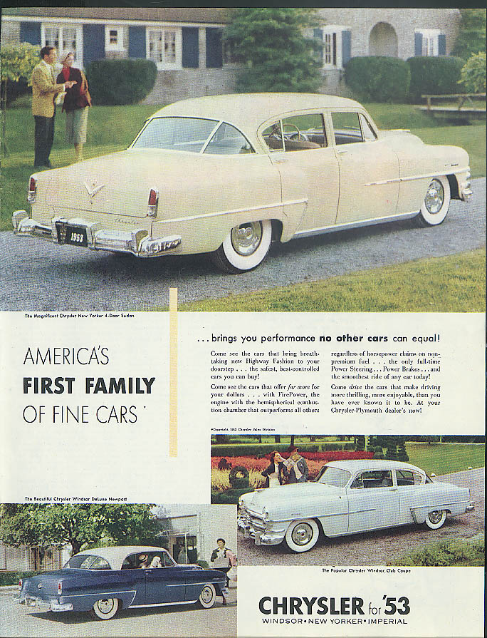 Image for Performance no others equal Chrysler New Yorker Windsor DeLuxe Newport ad 1953