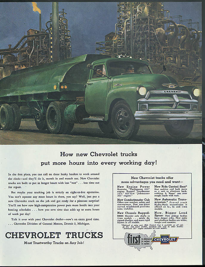 How Chevrolet Trucks put more into every working day ad 1954 gasoline tanker