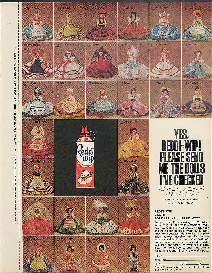 Yes Reddi-Wip - Send me the international dolls I've checked MAGAZINE AD 1965
