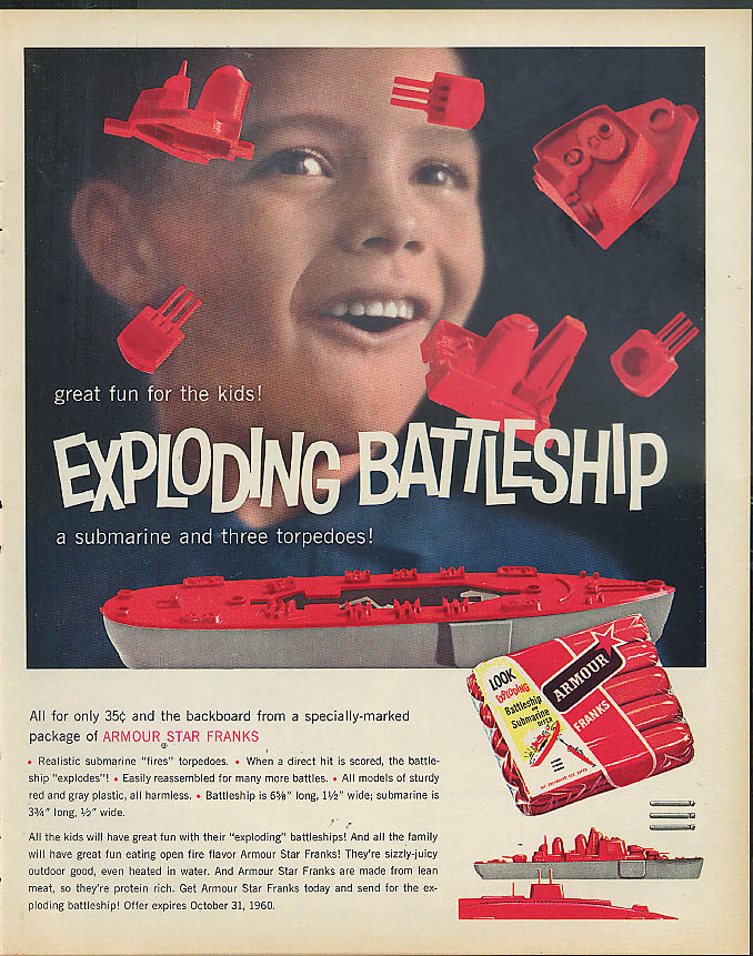 Armour Franks Exploding Battleship MAGAZINE AD OFFER 1960