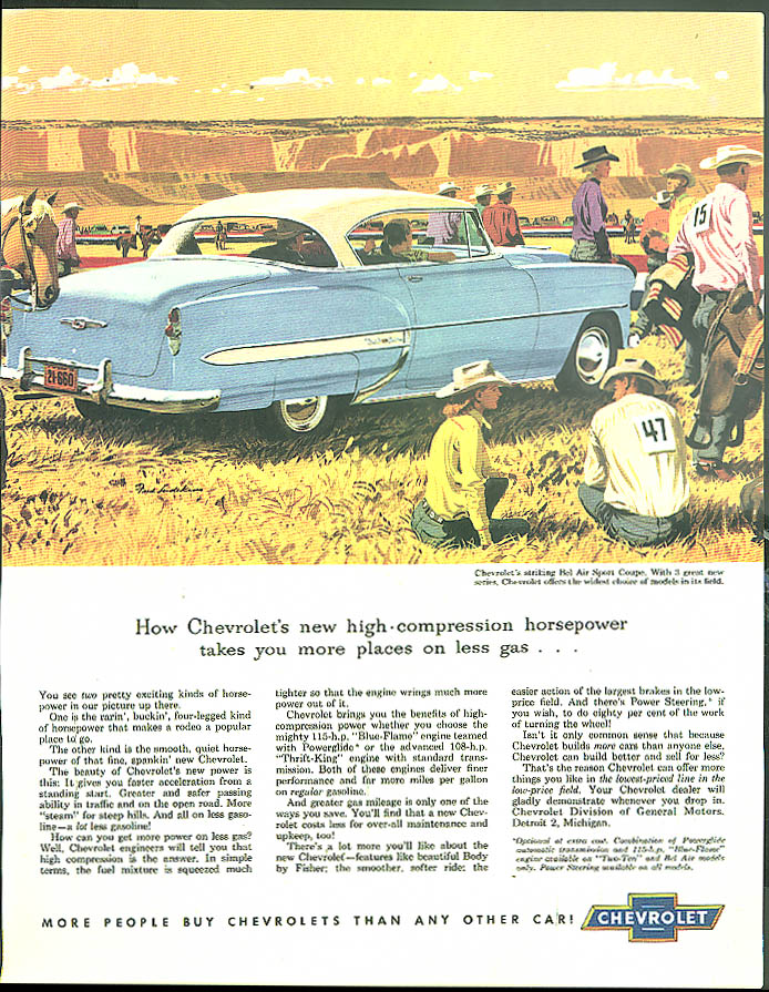 High-compression horsepower takes you places Chevrolet Bel Air Coupe ad 1953