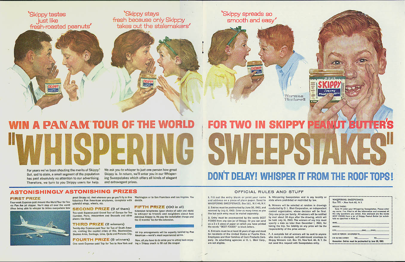 Skippy Peanut Butter Pan Am Tour Whispering Sweepstakes ad 1963 Norman Rockwell