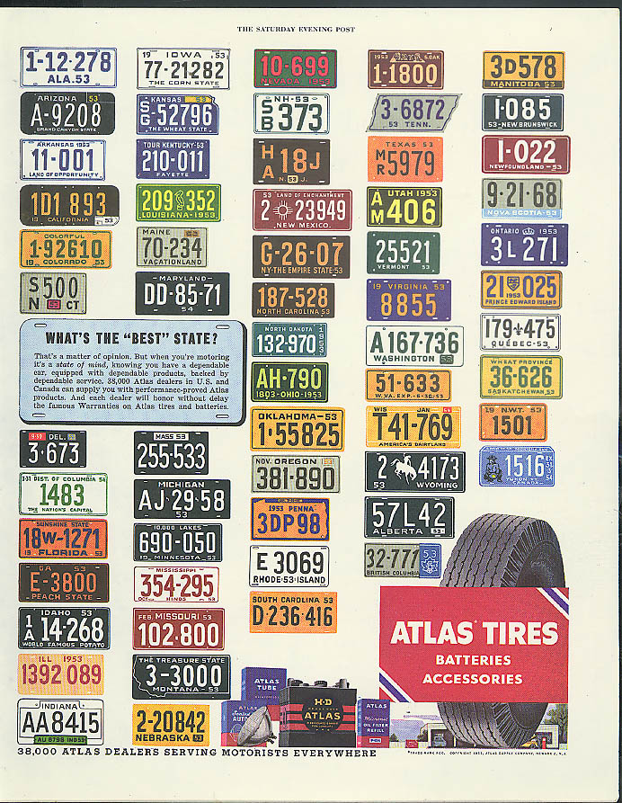 Atlas Tires Which State is Best? License plates USA & Canada ad 1953