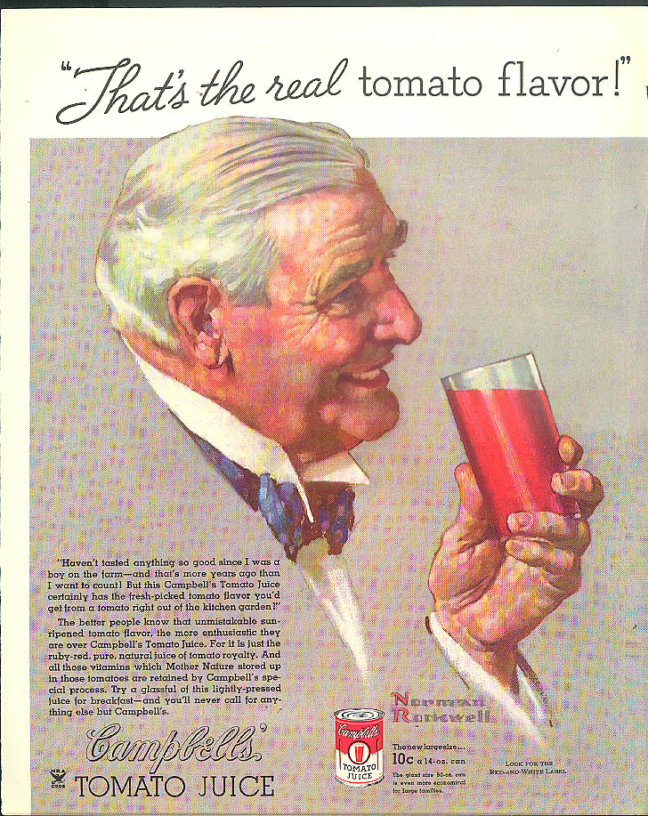 That's the real tomato flavor! Campbell's Tomato Juice ad 1934 Norman Rockwell