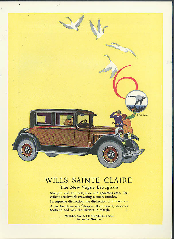The New Wills Sainte Claire Vogue Brougham ad 1926
