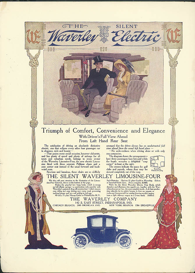 Triumph of Comfort Convenience Elegance Waverly Electric Limousine Four ad 1913