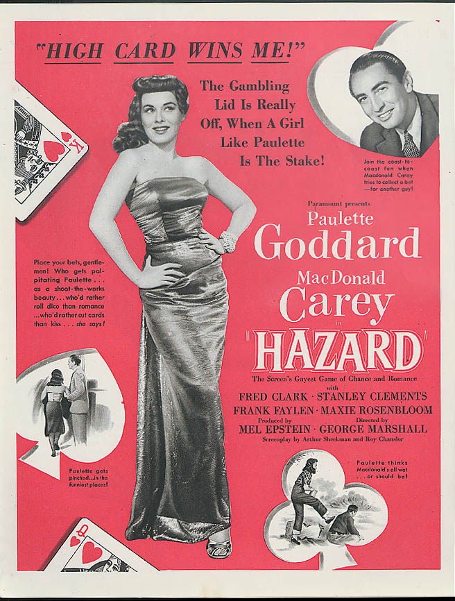 Paulette Goddard MacDonald Carey in Hazard MAGAZINE AD 1948
